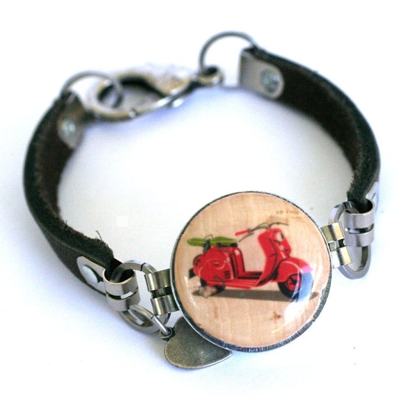 Scooter Bracelet - Scooter Jewelry, Vespa, Wine Cork Bracelet, Leather Bracelet, Poppy Red Scooter, Hit the Road, Recycled - Uncorked