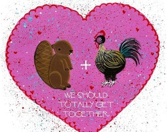 Beaver and Cock We Should Totally Get Together card
