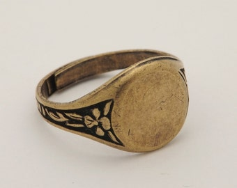 Ring Blanks - 10 Brass Ox (Oxidized) Floral Style 7 Round Glue On Pad Adjustable Ring Blanks - Great for Glass, Buttons and More