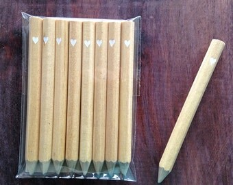 24 tiny heart mini pencils