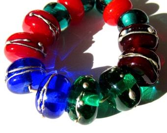 Handmade Lampwork Glass Beads bright green blue red burgundy silver trails set SRA