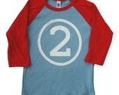 2nd Birthday Shirt - Boys raglan american apparel second birthday tshirt Red/Blue