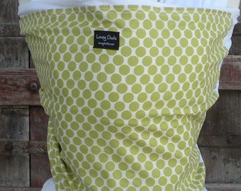 ORGANIC COTTON Baby Wrap-Sling Carrier- Hands-Free Carrier-Lime Dots on White-Our Wraps Are One Size Fits All-DvD Included