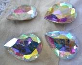 Crystal AB 25x18mm Pear Glass Gems 4 Pcs