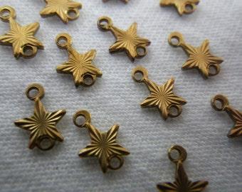 Tiny Brass Star Die Struck 9mm Connectors 12