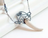 Antler Necklace Pendant Naturally Shed Wire Wrapped Beaded - SeamsVictorian