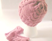 Cable knit set, hand knit cable hat, cable wrist warmers, cable knit cap, rose wrist warmers,  rose hand knit hat, acrylic knit hat