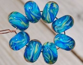 Waterbabies - Set of 8 Encased Lampwork Beads - Dan O Beads