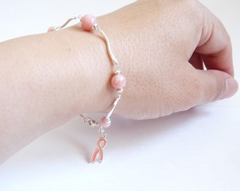 Breast cancer awareness bracelet, Sterling Silver, Pink Opal Bracelet,  Handmade Jewelry
