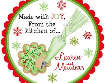 Christmas Cookie Stickers, Cookie Decorating labels, Kitchen Stickers,From the kitchen of, Holiday,  Baking, Labels, Set of 12