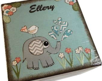 Keepsake,Trinket, Jewlery, Decorative Box, Elephant Box, For Children, Baby Storage Box, Baby Shower Gift,  Personalized Gift, MADE TO ORDER