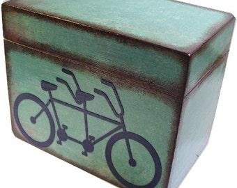 Recipe Box, Wood Recipe Box, Decoupaged Box, Tandem Bike, Wedding Box, Bridal Shower Box, Personalized, Holds 5x7 Cards, MADE TO ORDER