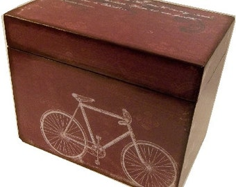 Recipe Box, Wedding Guest Book Box, Holds 4x6 Cards, Bridal Shower Gift, Storage and Organization, Large Box, Red Bicycle Box, MADE TO ORDER