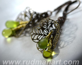 Vintage look Olive glass earrings, Art Nuvo, victorian, shabby chic, boho, wedding gift