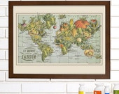 Vintage Map Wall Art, French Garden, Lithograph