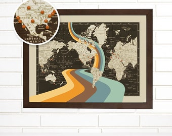Push Pin Map, Vintage World Pushpin Travel Map, Not All Who Wander Are Lost, Push Pin World Wall Map Art