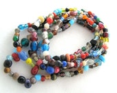 India Bazaar Strand Multicolored Strand Small Glass Beads Spacers Different Shapes - 36 inches