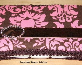 Boutique Travel Wipe Case Pink Brown Damask Rhinestone Bling Buckle Velvet Ribbon Baby Shower Gift