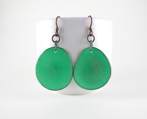 80's Teal Tagua Nut Eco Friendly Earrings with Free USA Shipping