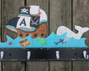 PIRATE SHIP Kids Bathroom Towel Rack/Nursery Peg rack - Original Hand Painted Hand Crafted Wood - Personalized Sail