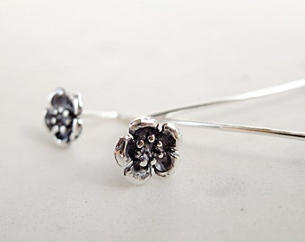 Flower earrings, long stems, Sterling Silver, Wild Rose, Nature inspired jewelry