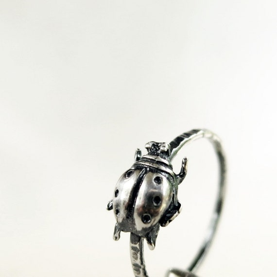 Ladybug Ring, Sterling Silver, hammered, ladybird, Nature inspired