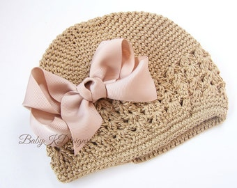 Baby Girl Bow and Crochet Hat Beanie. Perfect winter hat. More Color Options and TWO Sizes Includes Interchangeable Crochet headband