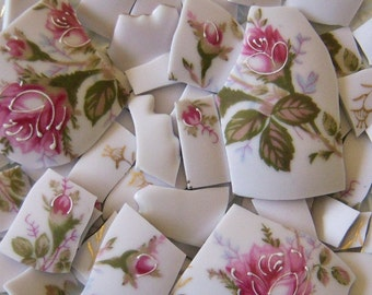 Mosaic Tiles--Pink Roses/BudsVintage--83 Tiles