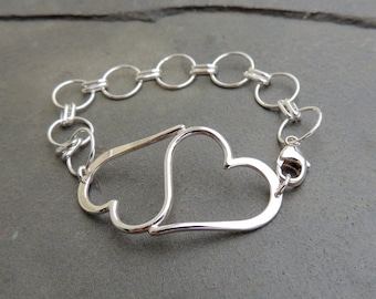 Sterling Silver Chain and link heart bracelet
