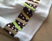 White Pick up Sticks Dish Towel, Tea Towel, Cocoa Brown, White Polka Dot, Kitchen Towels, Cotton, Waffle Weave Fabric
