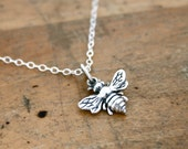 Bee necklace - sterling silver bee charm on sterling silver necklace