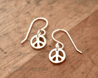Peace earrings - silver peace symbol jewelry, gift for her, small dangle, wear everyday, simple, peace sign, hippie jewelry