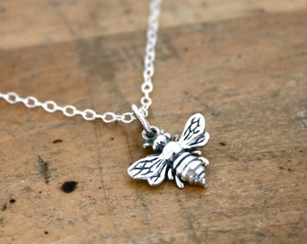 Bee necklace - sterling silver bee charm on sterling silver necklace, bee jewelry, gift for beekeeper, friend jewelry