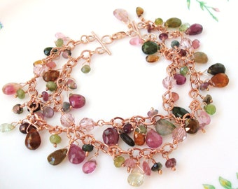 watermelon tourmaline rose gold filled 2 strand bracelet - Made to order in silver, gold-filled or rose gold-filled