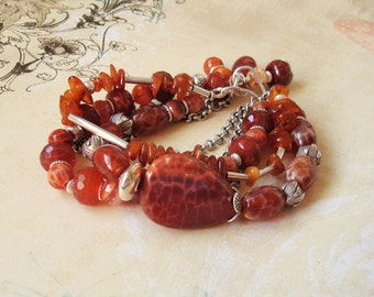 fire agate, amber and silver multi-strand bracelet