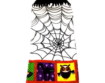 Spiderweb Hand Towel With Black Crocheted Top
