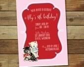 kitten birthday invitation, kitten birthday party, printable kitten party
