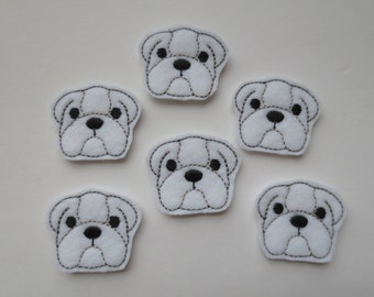 Bulldog White Felt Machine Embroidered Feltie - Applique - 211