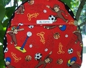 My Carrie Toddler/Baby Backpack made with Curious George Sports Fabric