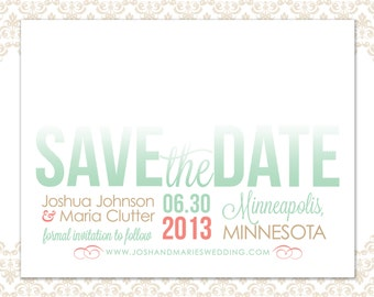 Wedding Save the Date Coral and Mint