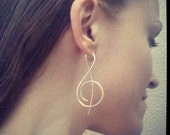 Music Treble Clef Sterling Silver Earrings / Free US Shipping