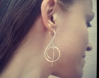 Music-Treble Clef-Sterling Silver-Earrings-Customized / Free US Shipping