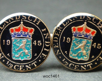 Netherlands East Indies coin cufflinks 1/2 cent 17mm