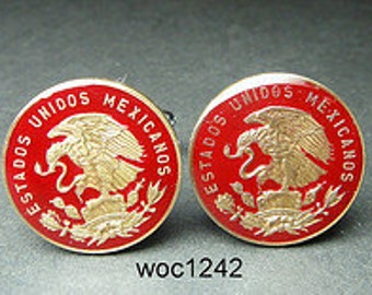 Mexico enamelled coin cufflinks  choice of color 20mm
