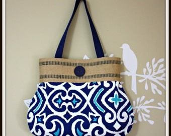 Home Decor Blue Handbag / Jute Webbing