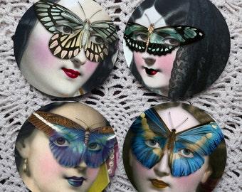 Masquerade Ball -- Mardi Gras Inspired Mousepad Coaster Set