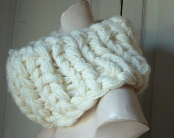 Super chunky cowl neckwarmer in creamy white one size for all  M L XL men and women