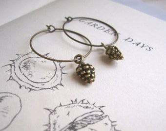 Golden Pine Cones hoop earrings - brass charms - handmade -  tiny pinecone woodland jewellery