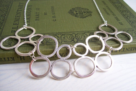 Silver Pebbles collar necklace - statement organic circles in silver - handmade