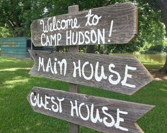WELCOME Sign. Address Sign, Personalized Yard Sign, Name Sign. With Stake. Reclaimed Wood Signs. Hand Painted Sign Guest House Sign